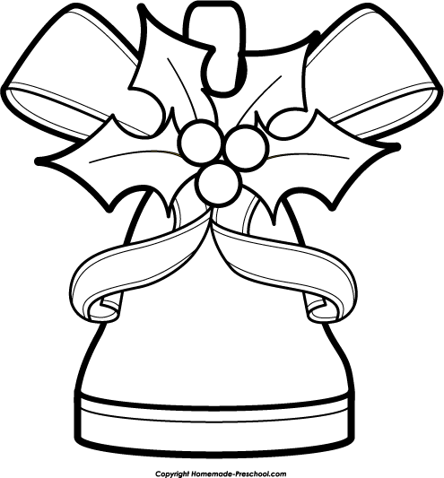 christmas bells clip art black and white