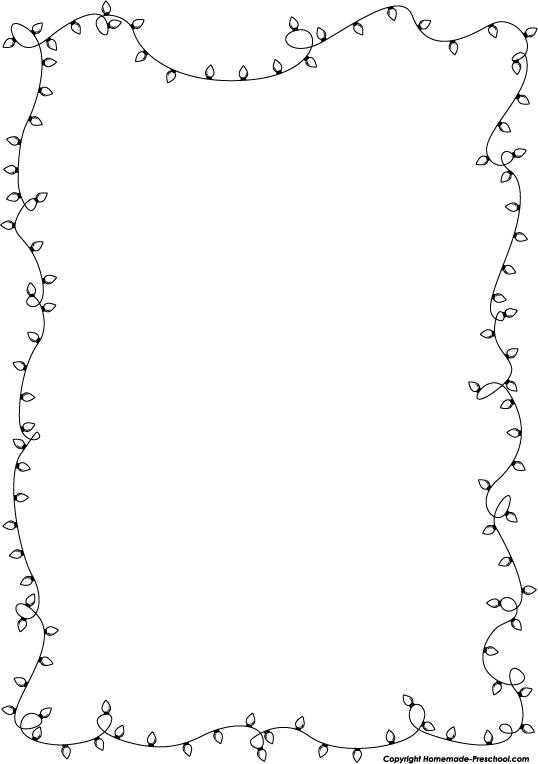 Black And White Christmas Lights Border Clip Art