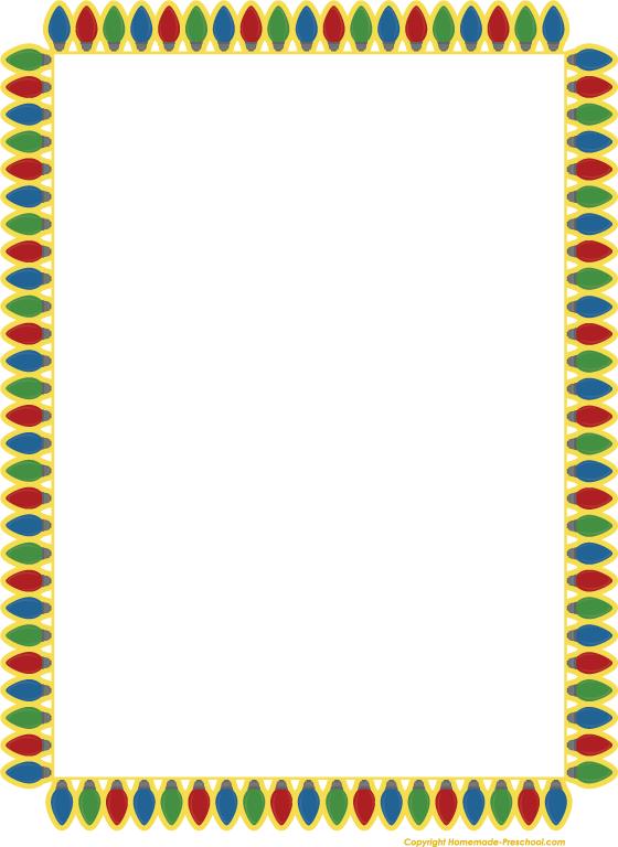 Calendar Border Clip Art : Christmas lights border new calendar template