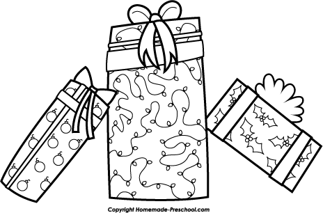 black and white christmas presents clip art
