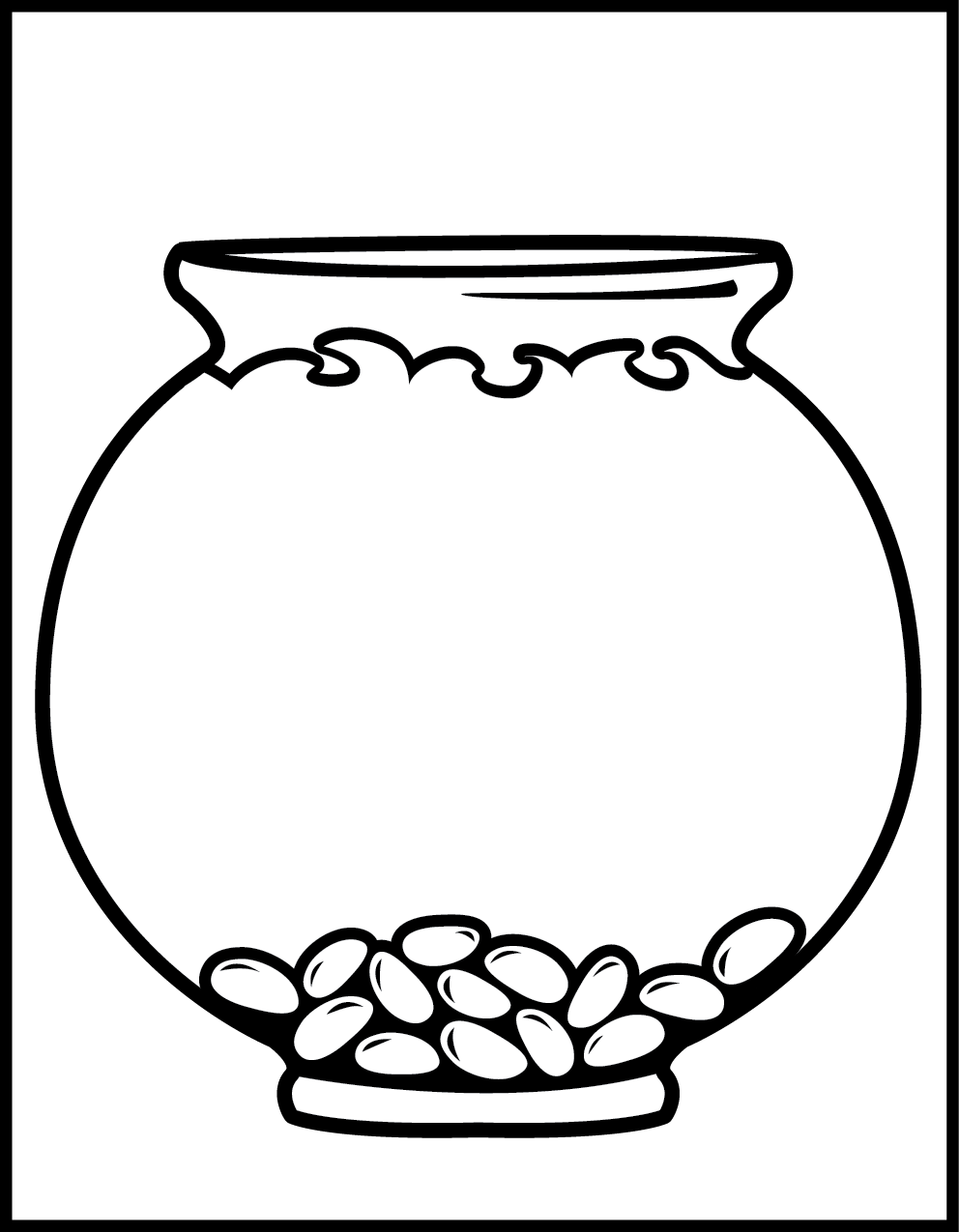 Fish In Fishbowl Colouring Pages