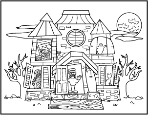 Free Printable Halloween Coloring Pages Haunted House