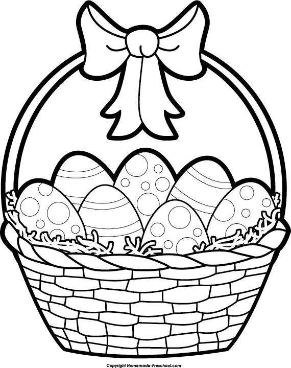 Easter Basket Black And White Clipart 1