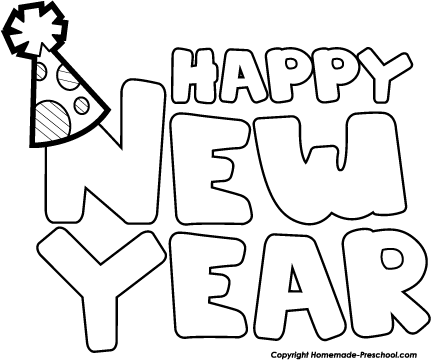 happy new year black and white clipart 1