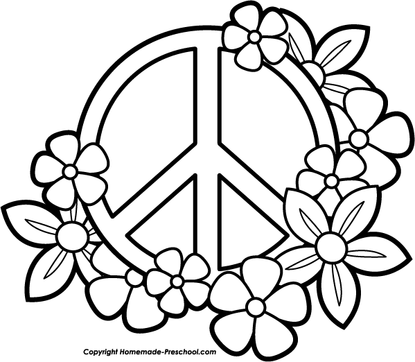 Peace Sign Flower Colouring Pages