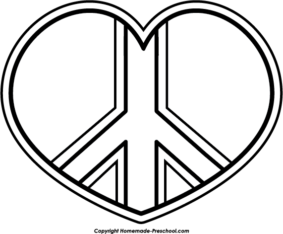 heart peace sign coloring pages - photo#1