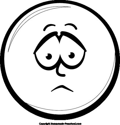 Sad Emoticon Black And...