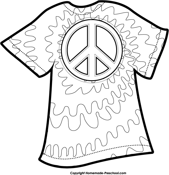 Free Peace Sign Clipart Tie Dye Coloring Pages