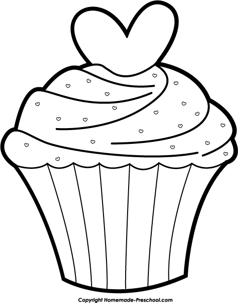 Cup Cake Coloring Pages For Preschoolers : cupcake peace coloring pages