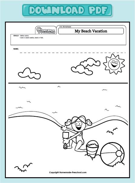 home preschool worksheets preschool art worksheets my beach vacation ...