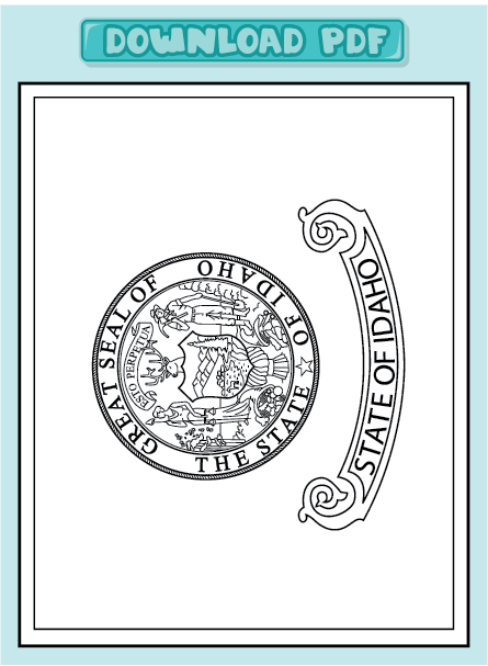 Free state of idaho flag coloring pages for Idaho state flag coloring page
