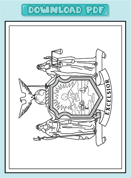 Free state flag of new york coloring pages for New york flag coloring page