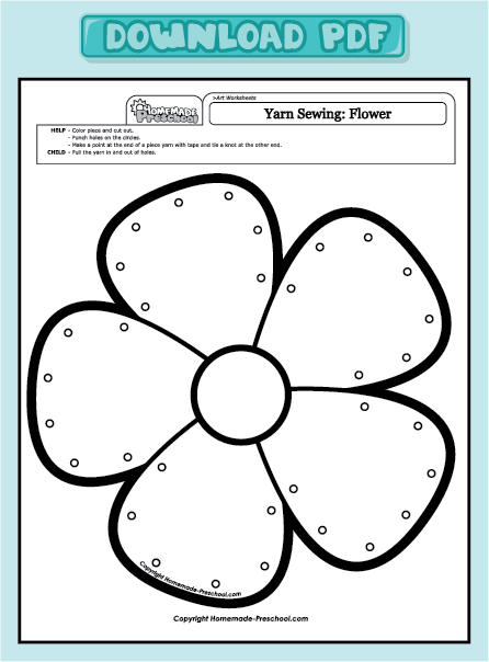 home preschool worksheets preschool art worksheets yarn sewing flower ...