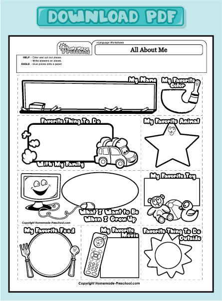 All About Me Worksheets Preschool All about me