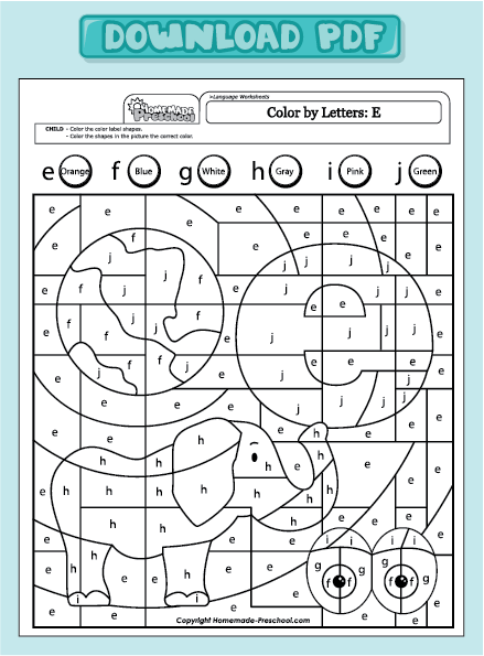 Number Names Worksheets Letter E Worksheets Preschool Free