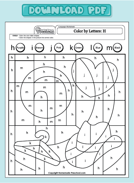Letter h activities kindergarten amanda number names worksheets color