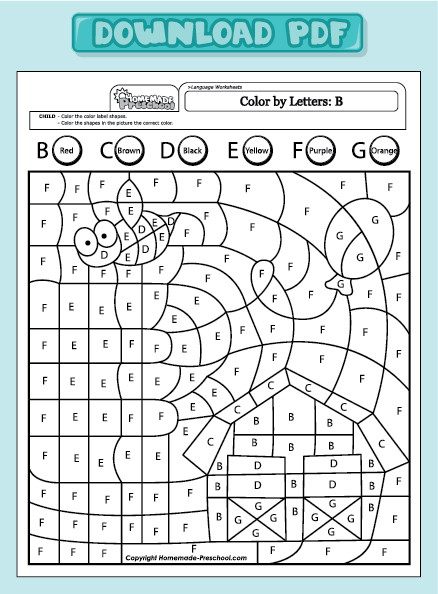Find The Letter B Worksheets Color by letter uppercase b
