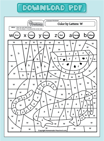 worksheets color by letter uppercase w color by letter uppercase w