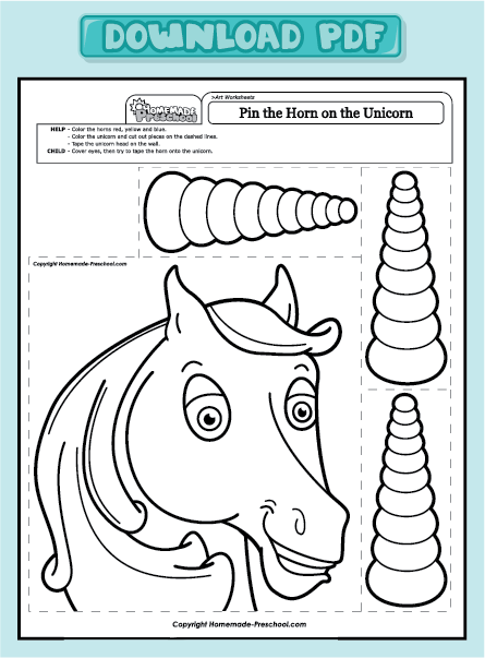 art worksheets pin the horn on the unicorn pin the horn on the unicorn ...