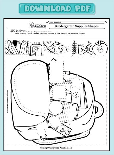 worksheets preschool math worksheets kindergarten supplies shapes ...
