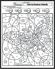 math worksheet : butterfly coloring pages by number  cooloring  : Math Color By Number Worksheets