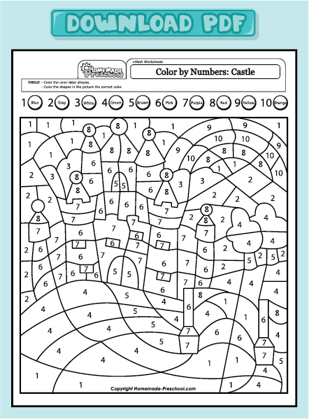 Free coloring pages of number 1 10 with words for Number coloring pages 1 20 pdf