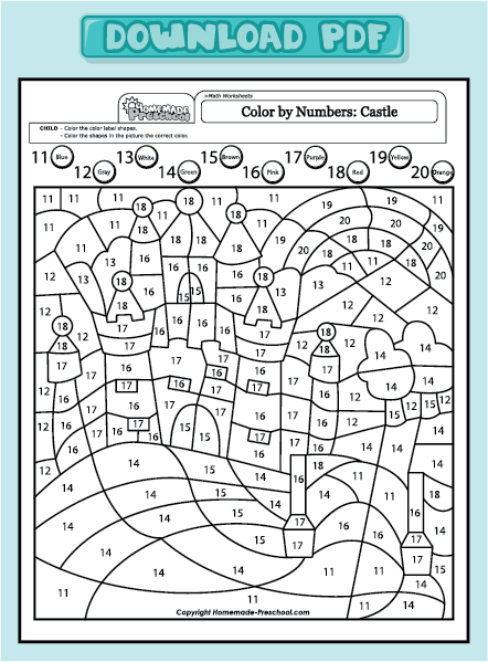 worksheets color by numbers castle 11 20 color by numbers castle 11 20 ...