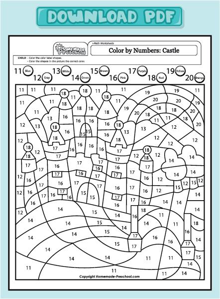Color By Number Worksheets Castles | New Calendar Template Site