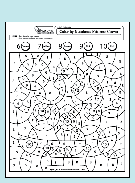 Princess Math Worksheets : Free coloring pages of numbers matching