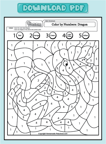 worksheets color by numbers dragon 1 5 color by numbers dragon 1 5