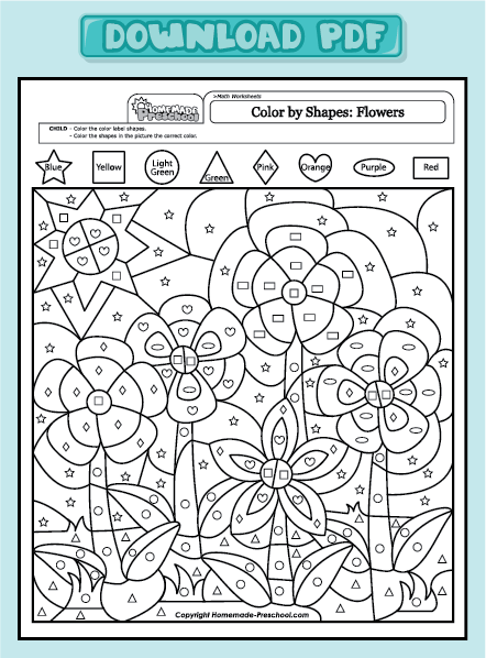 Crafty image regarding color by shape printable