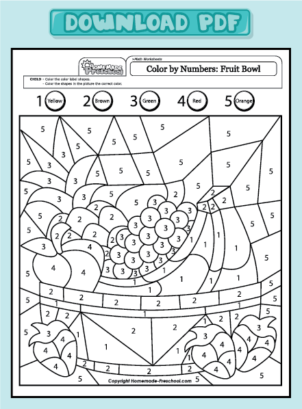 worksheets preschool math worksheets color by numbers fruit bowl 1 ...