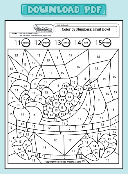 math worksheets color by numbers fruit bowl 11 15
