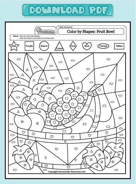 home preschool worksheets preschool math worksheets color by shapes ...