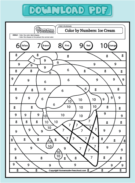 Ice Cream Coloring Pages Pdf : Free review of counting to coloring pages