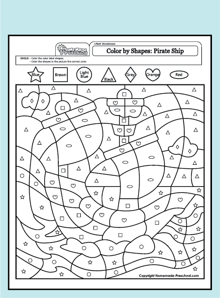 math worksheet : worksheet math color pirate shapes pdf  : Math Is Fun Worksheet
