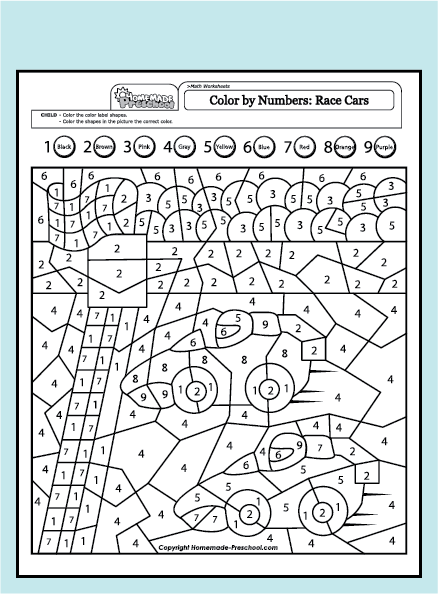 Colour By Number Vehicles Cars Color By Numbers Colouring