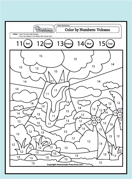 Coloring pages of number 15 worksheet