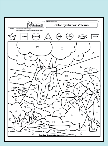 Fun and interactive preschool worksheets for Color by shape coloring pages