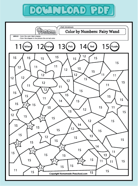 Number Names Worksheets Color By Number 1 5 Free Printable