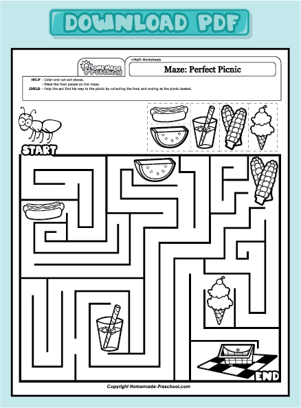 home preschool worksheets preschool math worksheets maze perfect ...