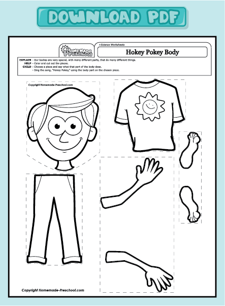 Free coloring pages of cut and paste body parts