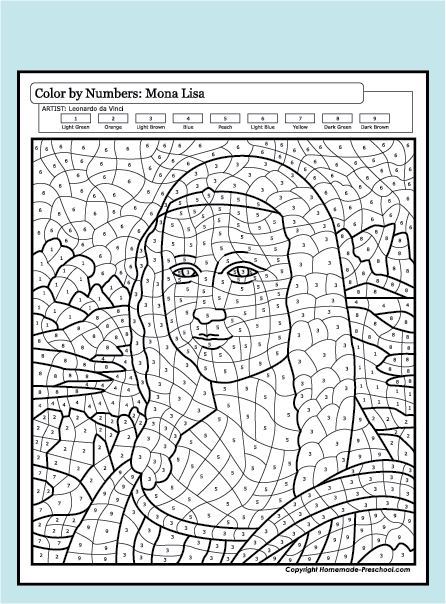 Fun and interactive preschool worksheets for Mona lisa coloring pages
