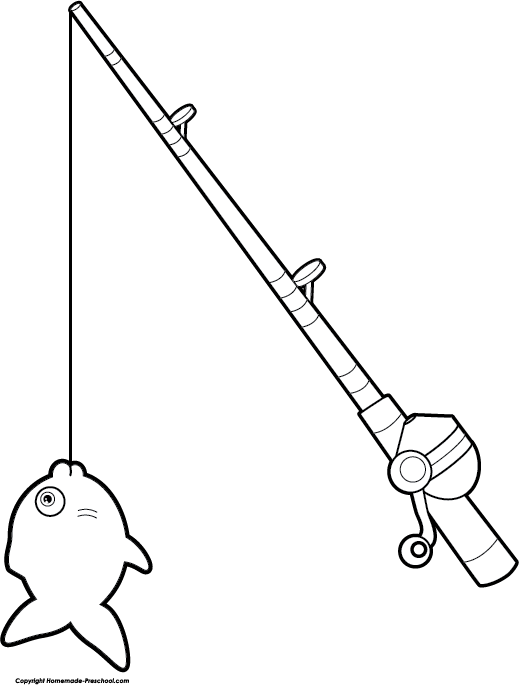 Fishing Pole With Fish Black And White