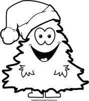 click to save image tree man singing - Christmas Tree Clipart Black And White