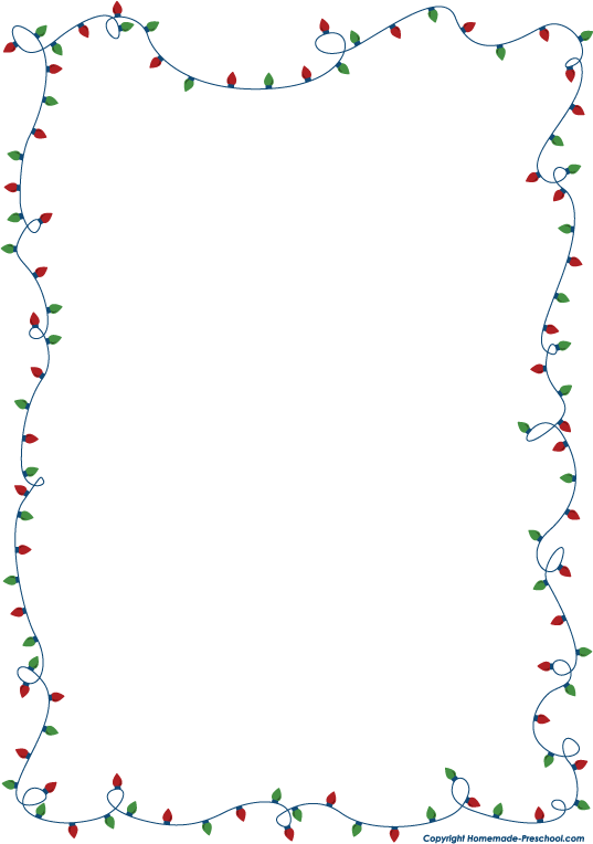 Free christmas lights clipart for Free christmas border templates