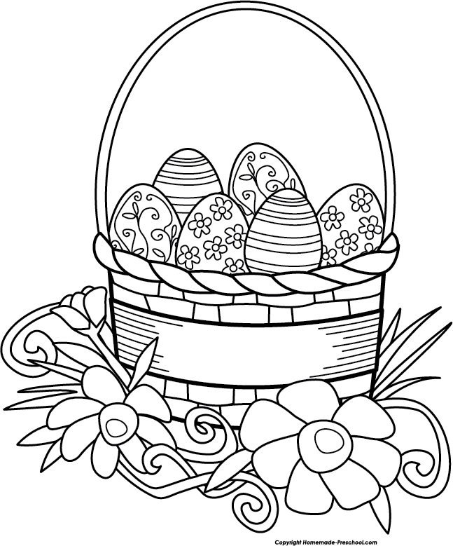 Easter Basket Clipart Black And White : Free easter basket clipart