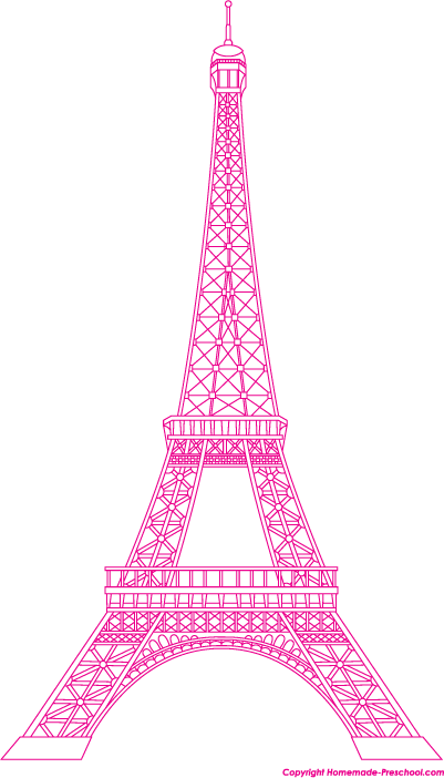 Eiffel Tower Clipart on Purple Coloring Pages For Preschool Sketch Templates