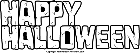 Happy Halloween Clip Art Black And White