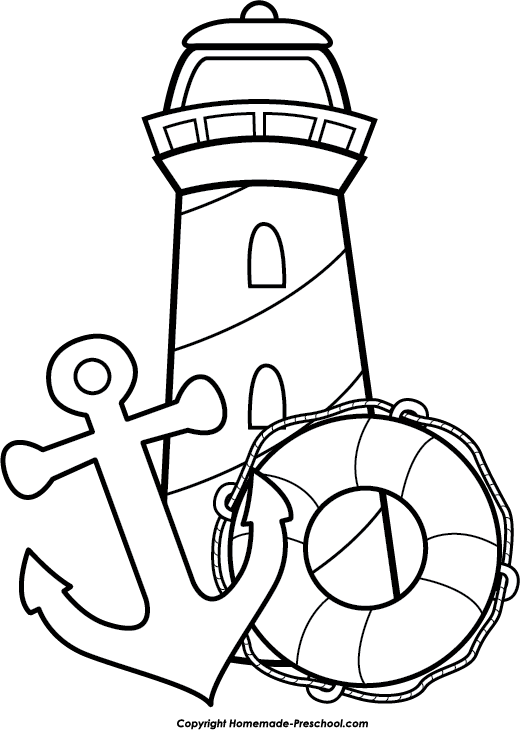 coloring pages of anchors - free lighthouse clipart